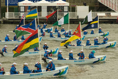 The boats of the Commonwealth in  Jubilee Pageant Royalty Free Stock Image