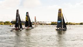 Boats competing in the Extreme Sailing Series in Cardiff. Cardiff, United Kingdom - August 25, 2018: Boats competing in the Cardiff round of the Extreme Sailing royalty free stock photos