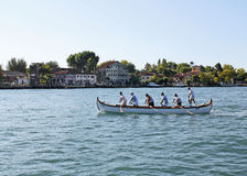 Boats competition in the Gulf of Venice. Boat sailing in the Venetian Lagoon Stock Images