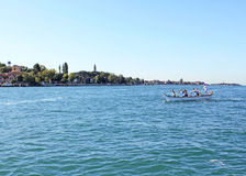 Boats competition in the Gulf of Venice 3. Boat sailing in the Venetian Lagoon Royalty Free Stock Photo