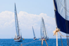 Boats Competitors During of sailing regatta Stock Photography