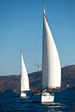 Boats Competitors During of sailing regatta Stock Photo