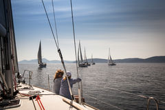 Boats Competitors During of sailing regatta Sail Stock Photos
