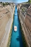 Boats in the Corinth Canal, Greece. The Boats in the Corinth Canal, Greece Royalty Free Stock Photo