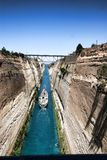Boats in the Corinth Canal, Greece. The Boats in the Corinth Canal, Greece Stock Photo