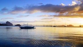Boats at Corong corong beach. El Nido Royalty Free Stock Photo