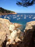 Boats on Costa Brava Coast Stock Images