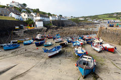Boats in Coverack harbour Cornwall England UK coastal fishing village on the Lizard Heritage coast South West England Royalty Free Stock Photos