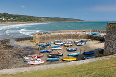 Boats in Coverack harbour Cornwall England UK coastal fishing village on the Lizard Heritage coast South West England Stock Photos