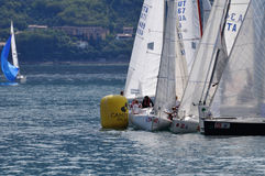 Boats cramming at a buoy of Trofeo Gorla 2012 Stock Image