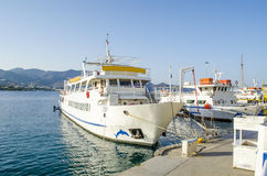 Boats in Crete Island. Boat in agios nikolaos port, Crete Island, Greece, with blue background Royalty Free Stock Images
