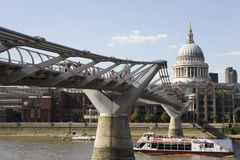 Boats Crossing Thames River Under Bridge Stock Image
