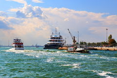 Boats and Cruise Ship Ponant Le Lyrial in Venice Royalty Free Stock Photography