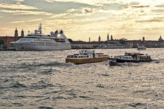 Boats and Cruise Ship Star Pride in Venice, Italy Stock Photography