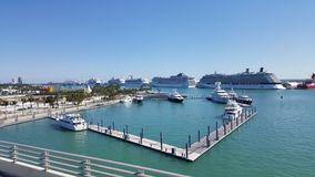 Tropical landscape of Miami seaport in a sunny day. Boats and cruises, travel and tourism in United States, nature and ocean, blue water and waves, blue sky royalty free stock photography