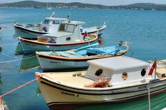 Boats in cunda island Stock Photos