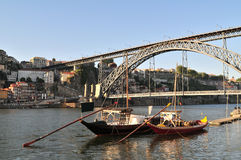 Boats and D. Luis bridge Royalty Free Stock Images
