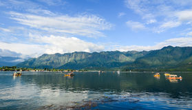 Boats on the Dal lake in Srinagar, India stock photos
