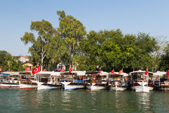 Boats in Dalyan River Royalty Free Stock Photo