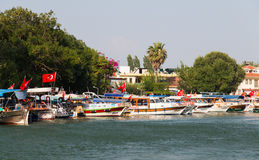 Boats in Dalyan River Royalty Free Stock Image