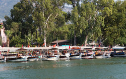 Boats in Dalyan River Stock Photo