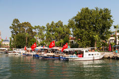 Boats in Dalyan River Stock Photos