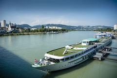 Boats on the Danbe at Linz Royalty Free Stock Image