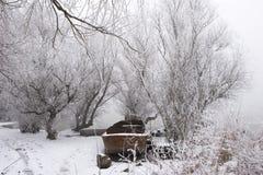 boats danube mid river winter Στοκ Φωτογραφίες