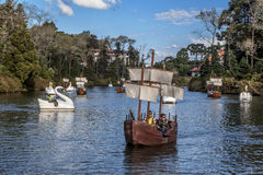Boats on Dark Lake Gramado Brazil Stock Images
