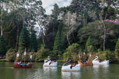 Boats on Dark Lake Gramado Brazil Stock Photography