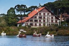 Boats on Dark Lake Gramado Brazil Stock Photo