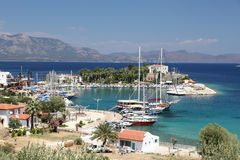 Boats in Datca Town Stock Photo