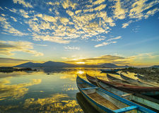 Boats in dawn Royalty Free Stock Photography