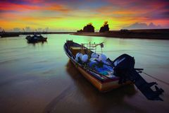 Boats, Dawn, Evening Stock Image
