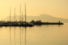 Boats at dawn, Mallorca, Spain. Boats in the early morning, Mallorca, Spain Stock Images
