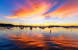 Boats and Daybreak at the Waterfront. Waiting for sunrise at Koolewong Foreshore, Koolewong, Central Coast, NSW, Australia Royalty Free Stock Photo
