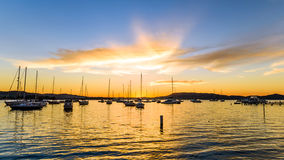 Boats and Daybreak at the Waterfront. Waiting for sunrise at Koolewong Foreshore, Koolewong, Central Coast, NSW, Australia Stock Images