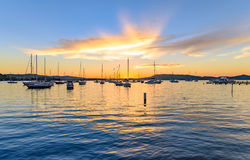 Boats and Daybreak at the Waterfront. Waiting for sunrise at Koolewong Foreshore, Koolewong, Central Coast, NSW, Australia Stock Photography