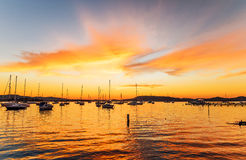 Boats and Daybreak at the Waterfront. Waiting for sunrise at Koolewong Foreshore, Koolewong, Central Coast, NSW, Australia Royalty Free Stock Image