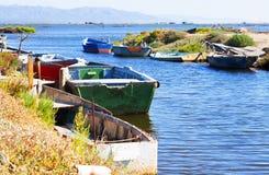 Boats at delta of Ebro river Stock Image