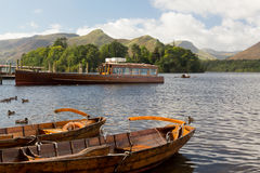 Boats on Derwent Water in Lake District Stock Image