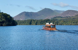 Boats on Derwent Water in Lake District stock photo