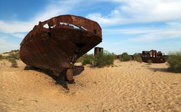 Boats in desert - Aral sea or Aral lake - Uzbekistan - asia Stock Photography