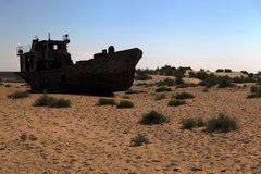 Boats in desert - Aral sea Stock Images
