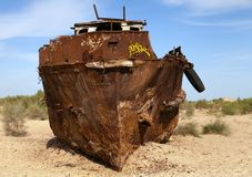 Boats in desert - Aral sea Stock Photo