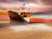 Boats in the desert. Boats in the fiction desert Royalty Free Stock Photography