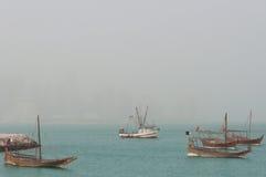 Boats (Dhow) mooring at Doha Corniche, Qatar royalty free stock images