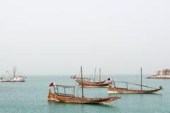 Boats (Dhow) mooring at Doha Corniche, Qatar royalty free stock photography