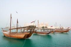 Boats (Dhow) mooring at Doha Corniche, Qatar stock image