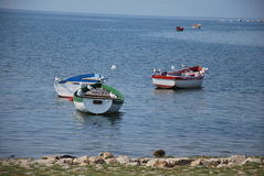 Boats in different colours on lake Ohrid, Macedonia Stock Images